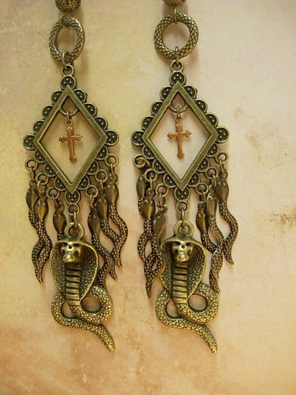 Gothic voodoo Snake earrings dripping in serpents
