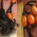 Vintage Italy Necklace HUGe amber with Dramatic Tassel With original tag Flapper style