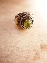 Vintage Sterling Peridot Poison Ring Cleopatras delight
