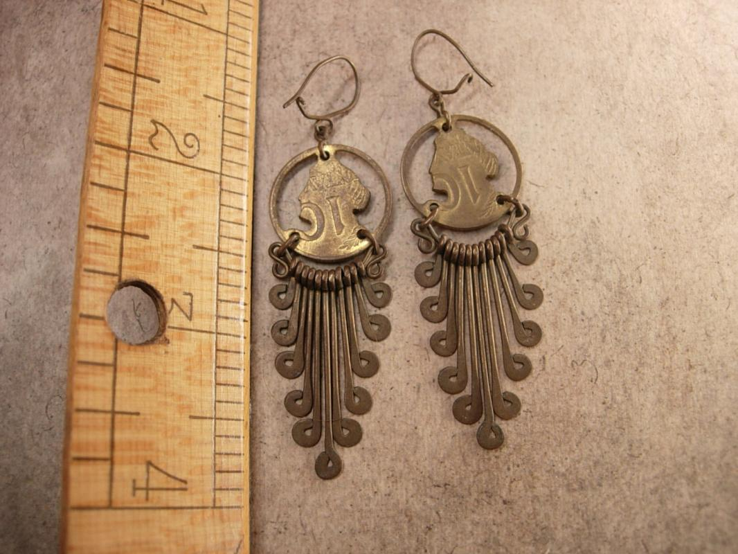 Vintage Queens Coin Tassel Earrings Trench art dated 1956 1962