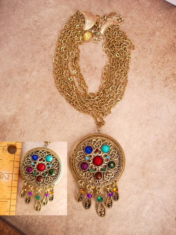 Bohemian Mermaid Gypsy Jeweled locket necklace Collar of chains