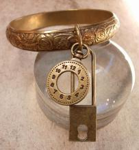 Vintage Charm Bracelet padlock and pocketwatch charms raised relief bangle