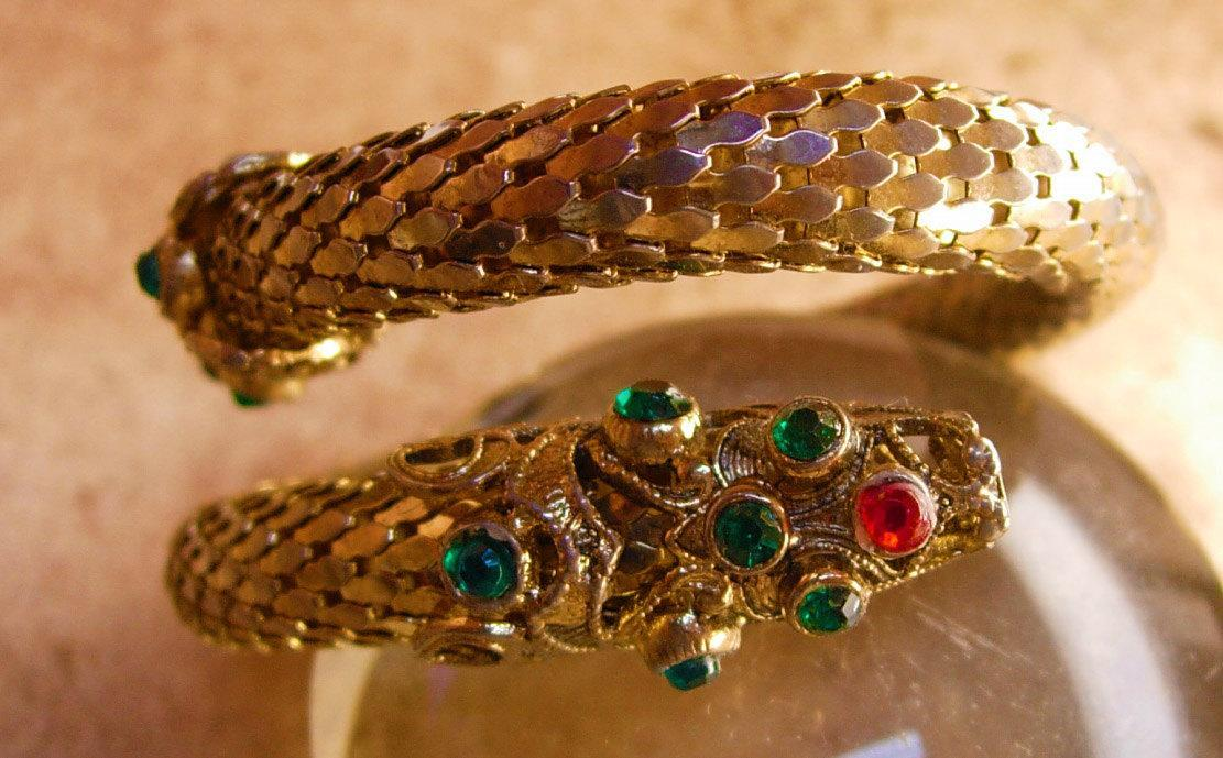 Vintage Jeweled Dragon Bracelet Mesh Snake coil serpent bangle
