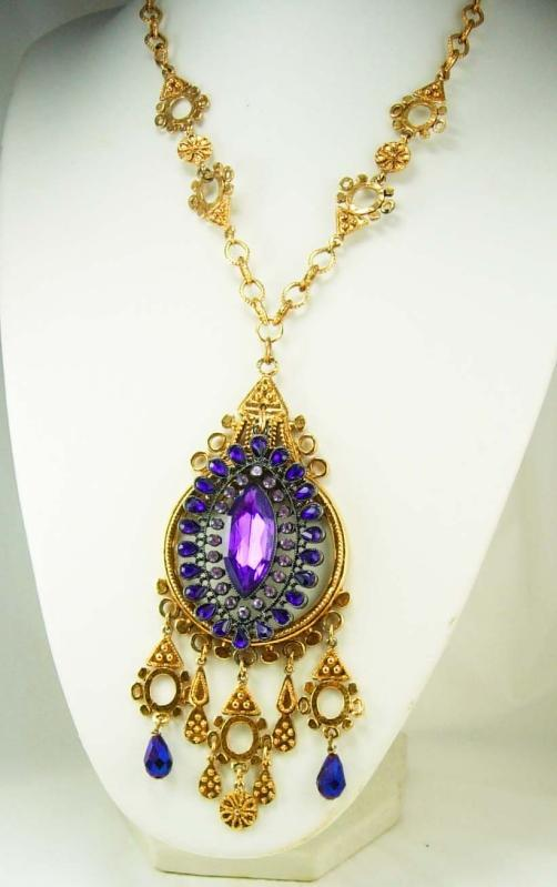 STUNNING Purple Chandelier Medieval necklace Goddess with aurora borealis Drops