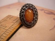 ANtique sterling genuine victorian amber fancy setting ring