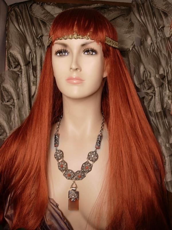 Vintage GOddess Necklace with Sterling etruscan coral and pearls OOAK