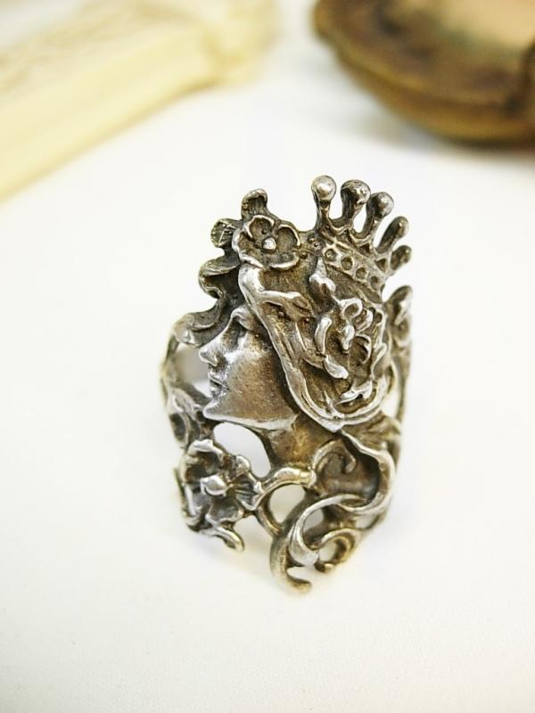 Mucha Goddess ring sterling with crown and flowing Bohemian hair Nymph