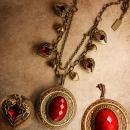 Valentine RED Locket Necklace Heart Charms fobs GOddess Minerva portrait Believe charm