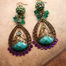 Bohemian Purple Rhinestones Earrings Turquoise Gypsy dangle drops
