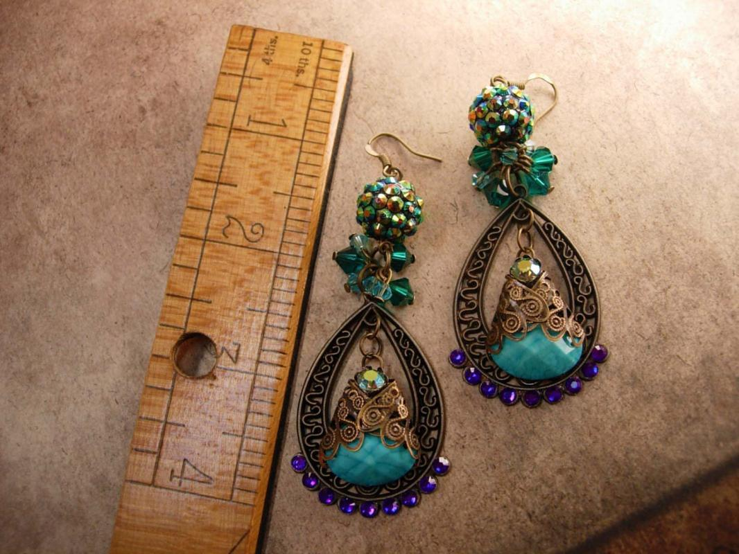 Bohemian Purple Rhinestones Earrings Turquoise Gypsy dangle drops