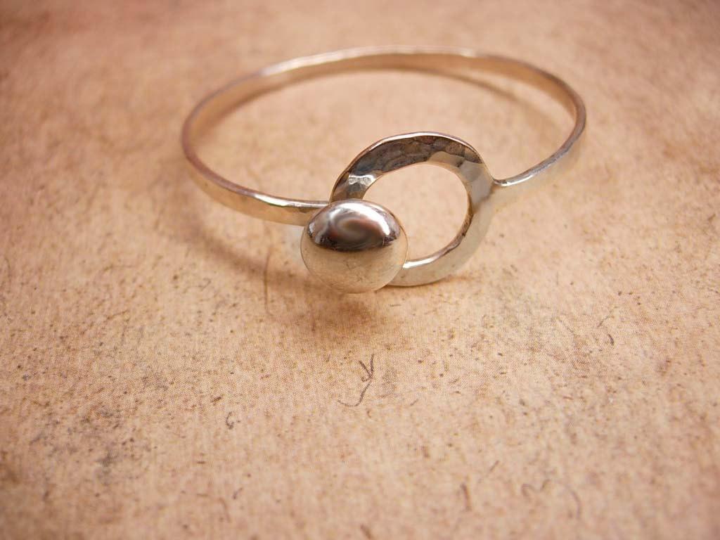 Signed Sterling Hammered Button Bracelet Parker Sterling Childs bracelet Modernist