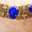 Antique Blue Czech Bracelet beautiful Filigree with raised Grape design