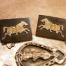 Rare Vintage 950 Silver and GOld Horse Cufflinks hallmarked sterling 950