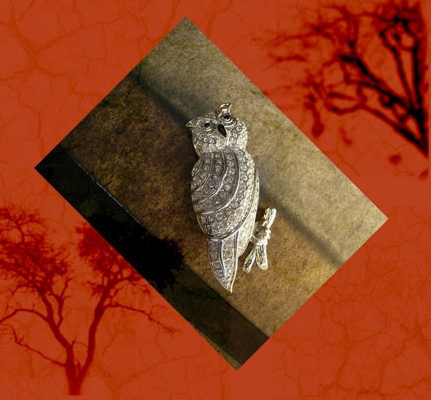 Vintage Pave rhinestone owl brooch Signed Swarovski
