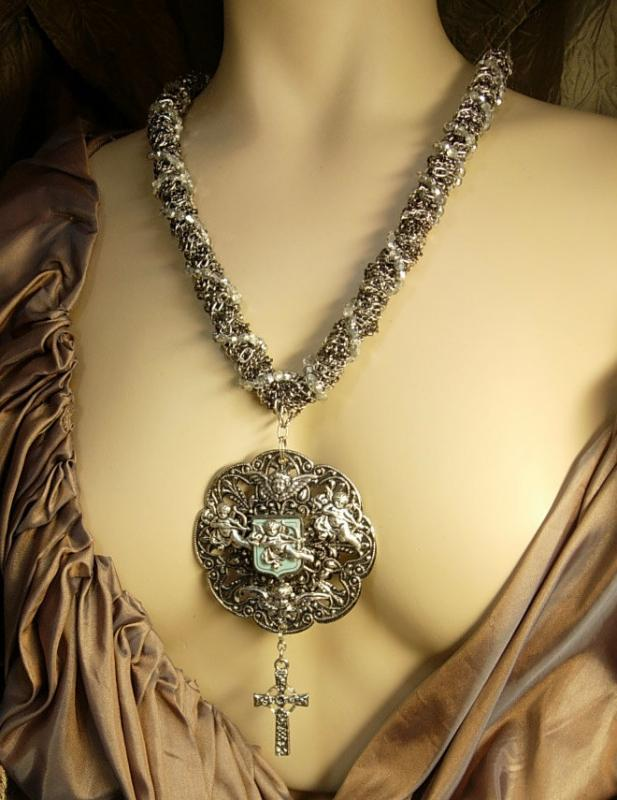 Victorian Cherubs Enamel vintage necklace and earrings Gothic cross