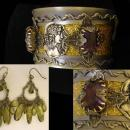 Egyptian bohemian purple rhinestone gothic bracelet and chandelier earrings