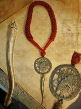 DIvine Red Coral Talisman necklace huge pendant