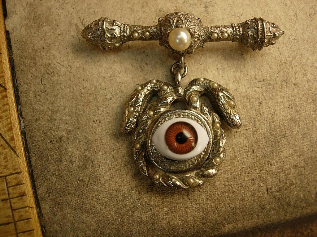 Bizarre Evil eye serpent talisman brooch jeweled serpents hoodoo voodoo
