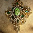 Queens Jewels Baroque necklace and earrings Dripping in Rhinestone Green Chandelier OOAK