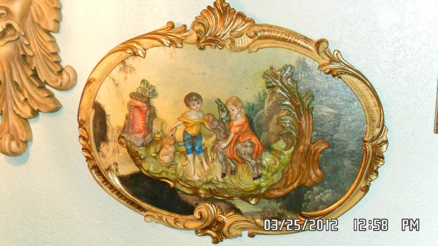 Vintage Pair Italian Chic Framed relief VIctorian figurine children