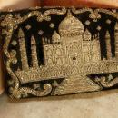 VIntage Taj Mahal purse hand embroidered in golden thread Persian clutch