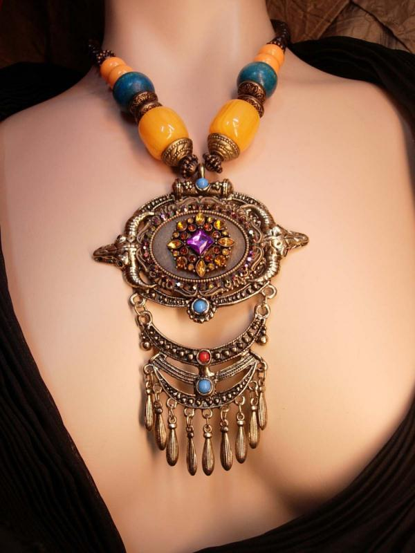 Rhinestone Statement Gypsy Necklace HUGE tasseled pendant Bohemian beaded
