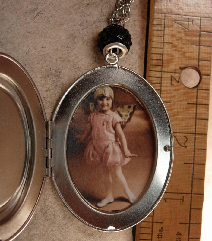 Whimsical Fairy Cameo Locket necklace Flapper era portrait child with fairy costume
