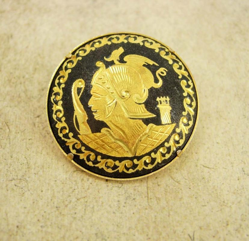 Vintage Mythical Warrior with snake and bird Brooch damascene