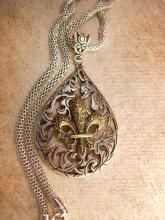 Gothic medieval Fleur de lis Necklace with Snake chain