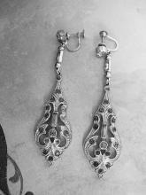 ANtique Art deco  Paste Dangle Earrings Rhodium drops Screw backs