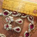 Vintage rhinestone bracelet Stunning Cranberry Glass earrings  fit for a queen