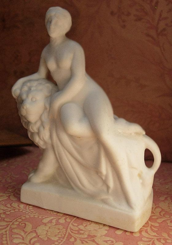 ANtique German Bisque Nude on a lion Miniature statue of Una and the Lion Faerie Queen