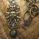 Steampunk Necklace Rhinestone  Crown Sun with Turquoise drop Huge Chain