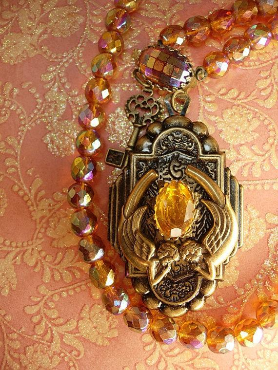 Fiery Deco deco  mermaid locket necklace sun and fire Glass beads Skeleton key