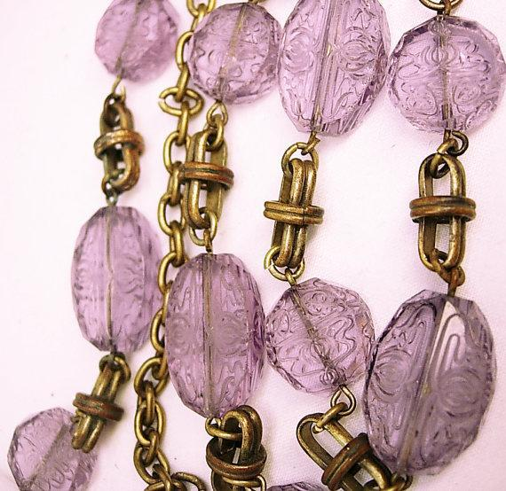 Vintage Amethyst necklace Bohemian glass necklace beautiful etchings on czech beads