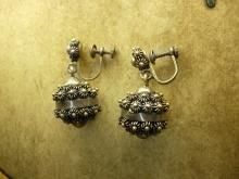 Medieval Antique sterling Etruscan drop earrings Screw backs