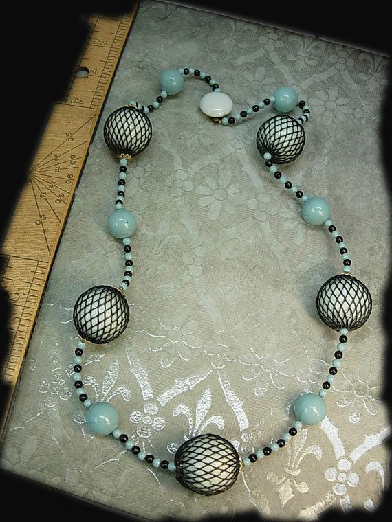 Japan signed necklace Vintage bizarre necklace Black net