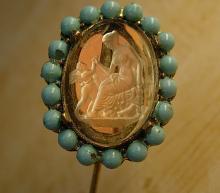 Antique STickpin Turquoise glass intaglio Cupid Stickpin Venus stickpin