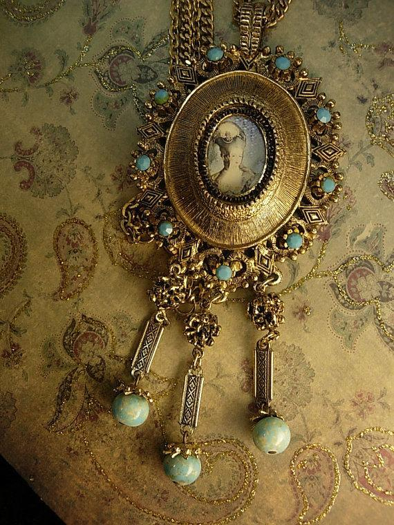 Marie Antoinette necklace portrait pendant fringe turquoise drops huge dramatic French Queen