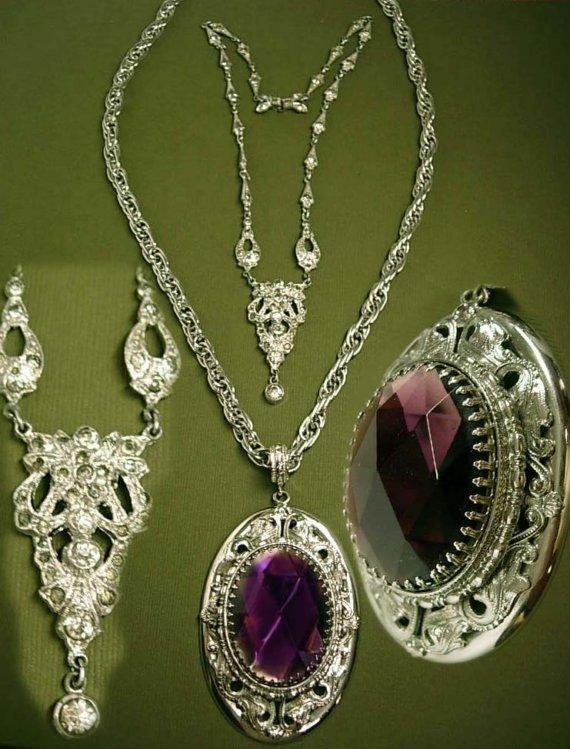 Deco Paste necklace and HUGE Amethyst GLass Necklace Fabulous set