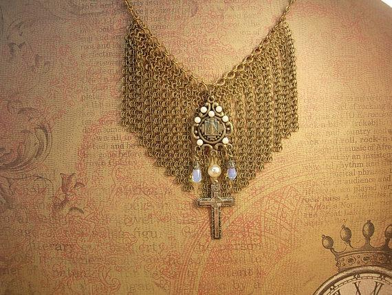 Vintage 1920's necklace Loaded with Fringe and religious medal and crucifix