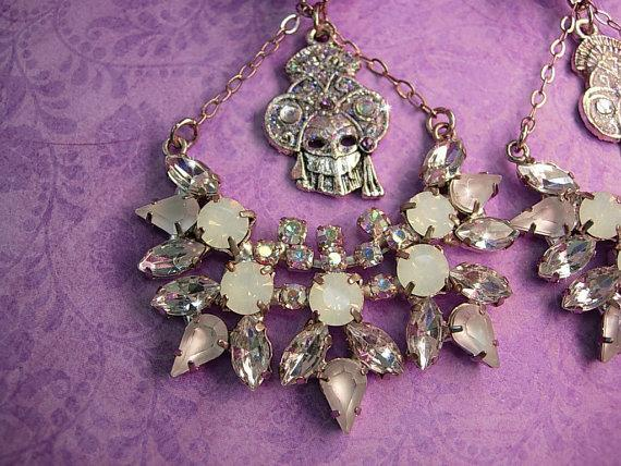 HUGE Masquerade earrings Big moonstones and Aurora borealis glass stones Vintage earrings Clip on