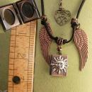 Spiritual sun Locket with angel wings necklace Mixed copper and silver and brass heart fob
