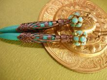 Egyptian Turquoise Chandelier earrings Ornate metalwork rhinestone shoulder dusters