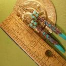 Egyptian Turquoise Chandelier earrings Ornate metalwork rhinestone shoulder dusters
