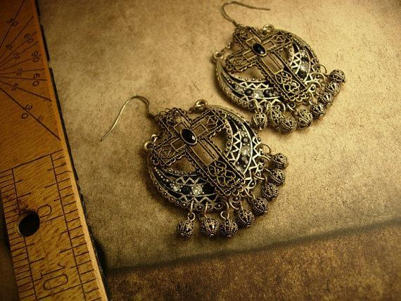 Renaissance revival Gothic chandelier earrings Jeweled filigree crosses and drops