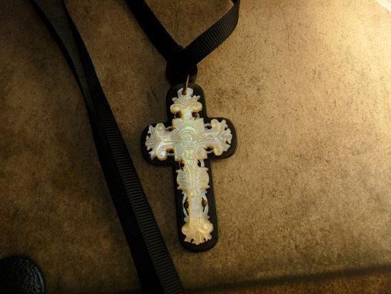 ANtique BLack Rosary crucifix Mother of pearl and gothic  black ribbon
