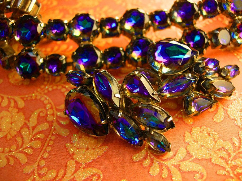 Vintage Watermelon rhinestone demi parure statement bracelet and earrings Peacock colors
