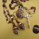 Gothic Rosary necklace & earrings Marcasite balls and rhinestone rondelles