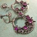 Vintage Signed PURPLE rhinestones Gypsy earrings Chandelier Drops west  Germany